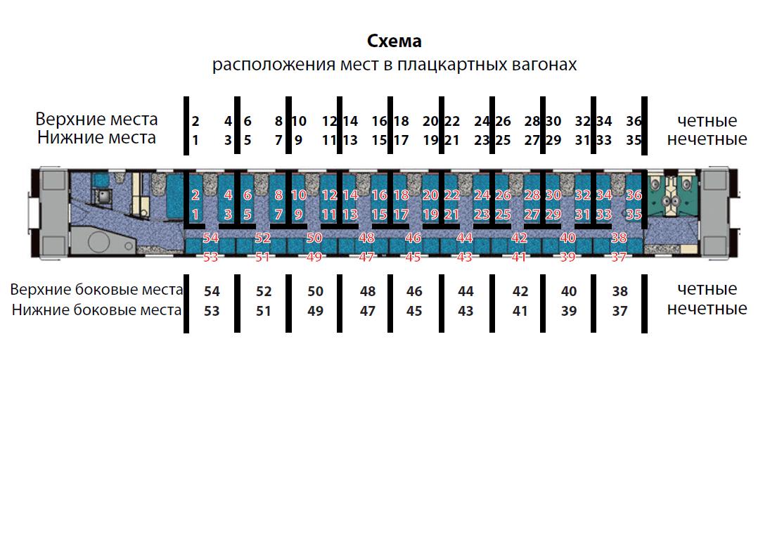 Схема размещения пассажиров в плацкартном вагоне6